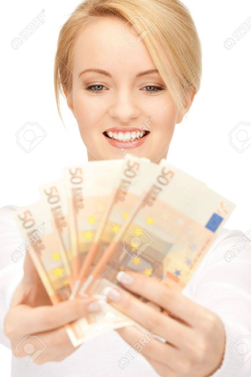 picture of lovely woman with euro cash money Stock Photo - 9163177