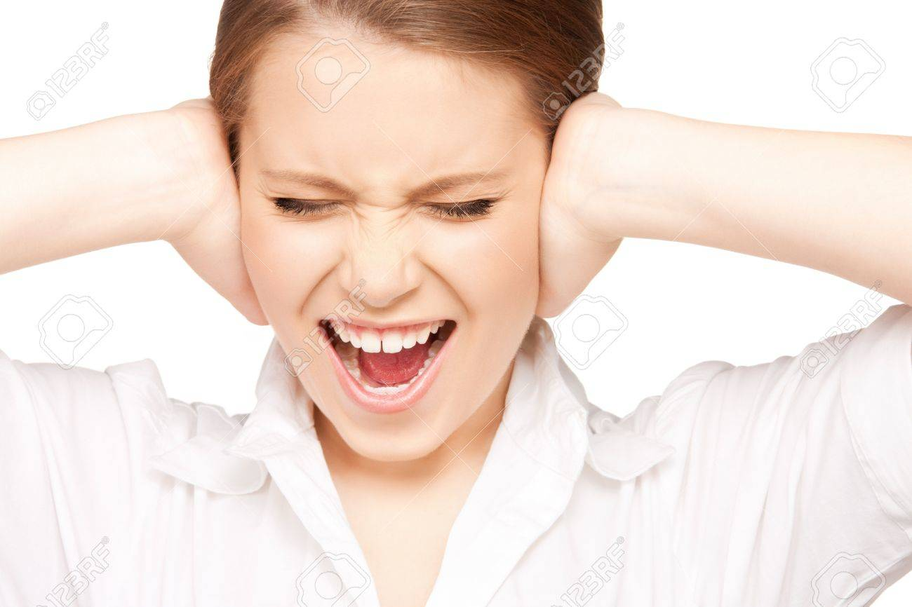 picture of woman with hands on ears. Stock Photo - 9318926