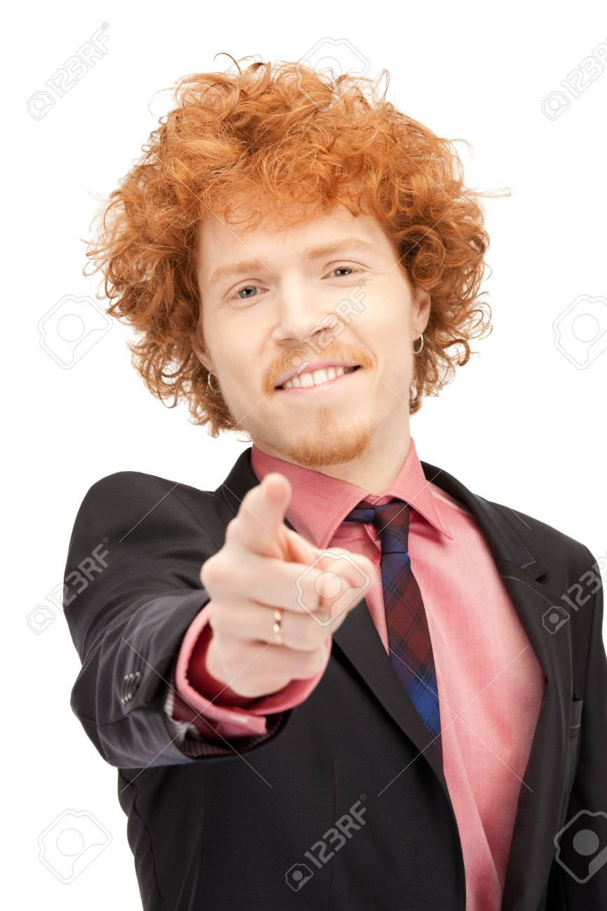 picture of attractive businessman pointing his finger Stock Photo - 9373284