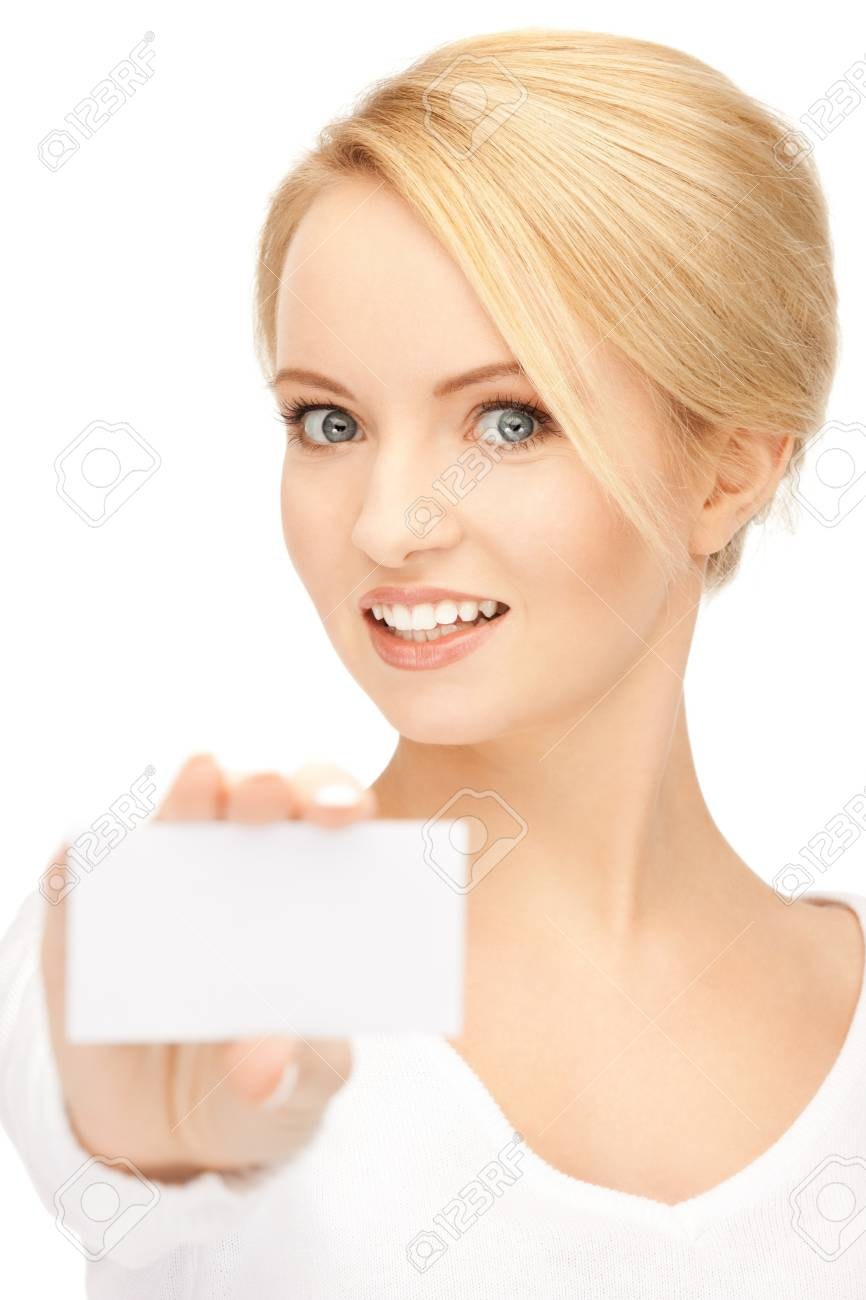 bright picture of confident woman with business card Stock Photo - 9383039