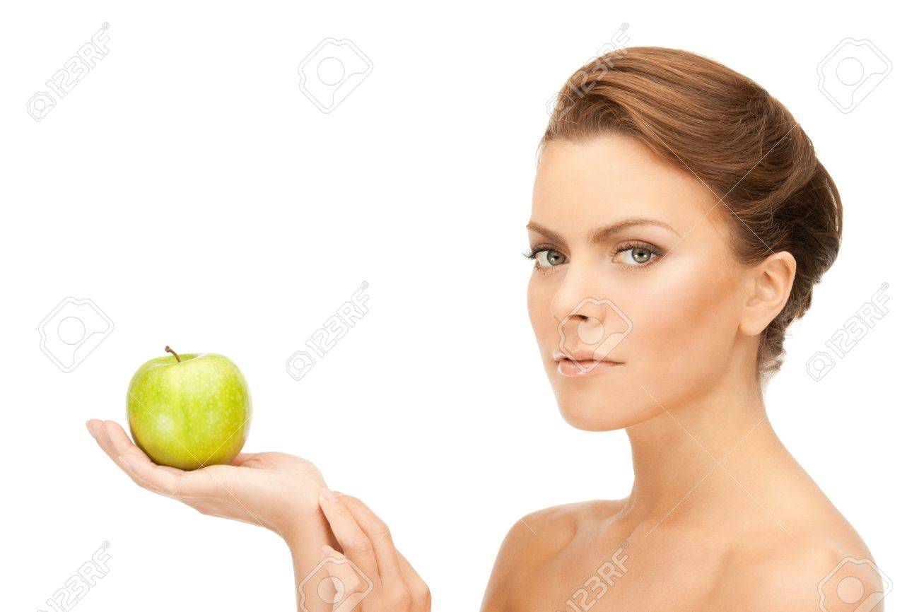 picture of young beautiful woman with green apple Stock Photo - 9519488
