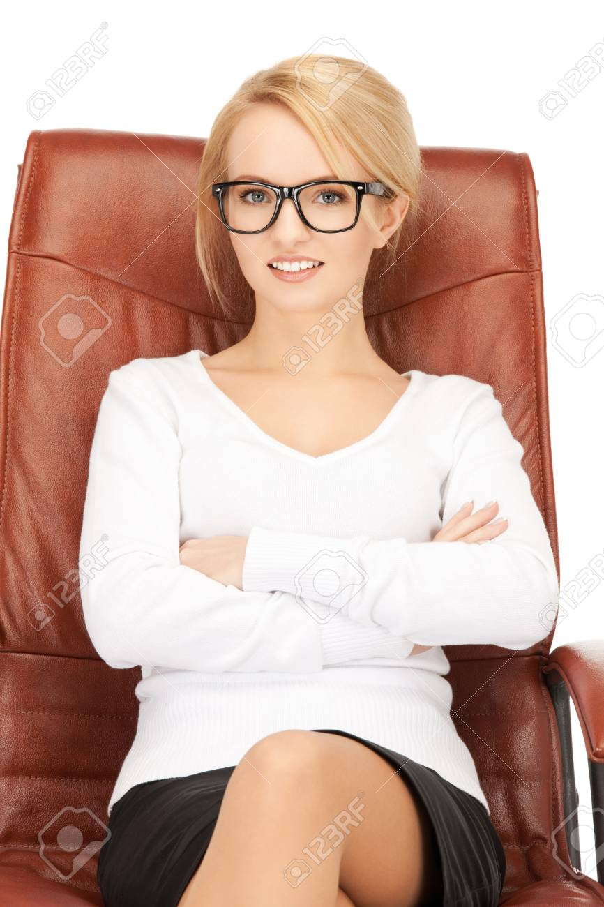 picture of young businesswoman sitting in chair Stock Photo - 9545765