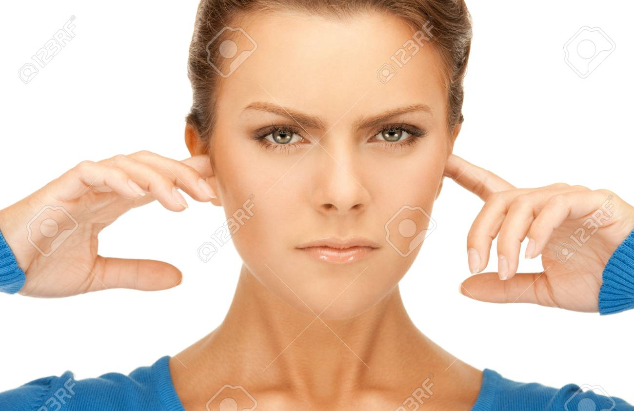 picture of woman with fingers in ears Stock Photo - 9659291