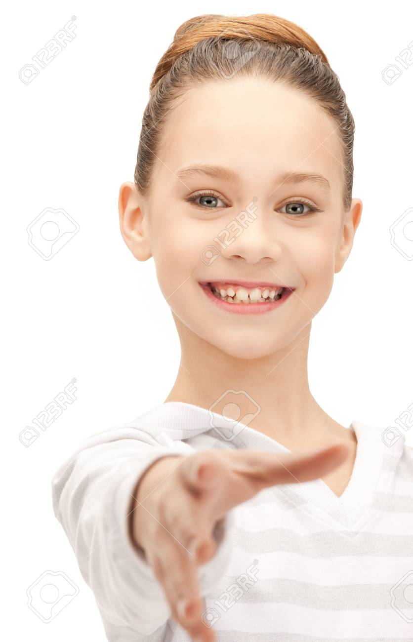 picture of teenage girl with an open hand ready for handshake Stock Photo - 9846839