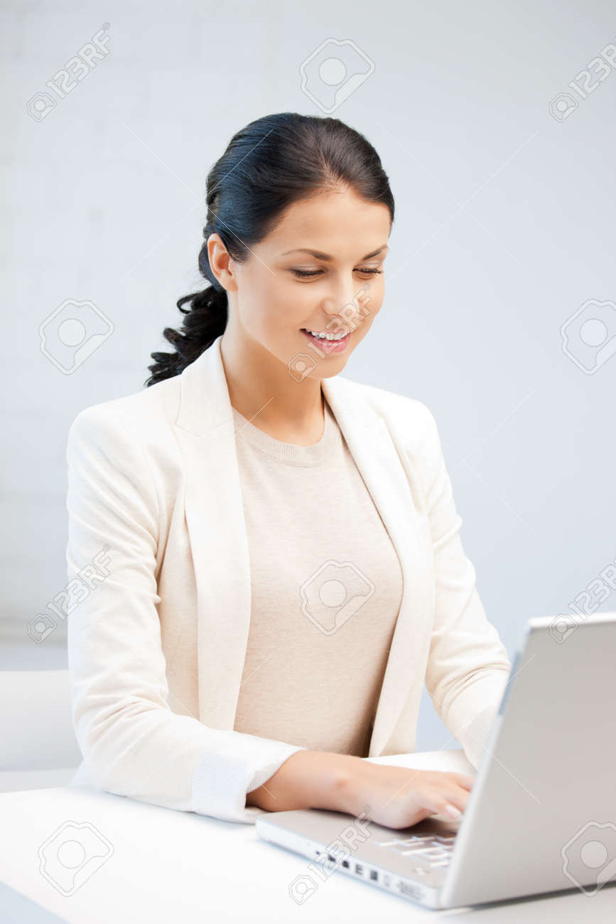 picture of happy woman with laptop computer Stock Photo - 9846900