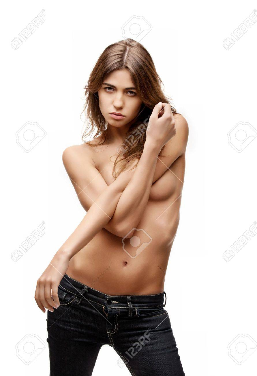 picture of beautiful topless woman in jeans Stock Photo - 9905427