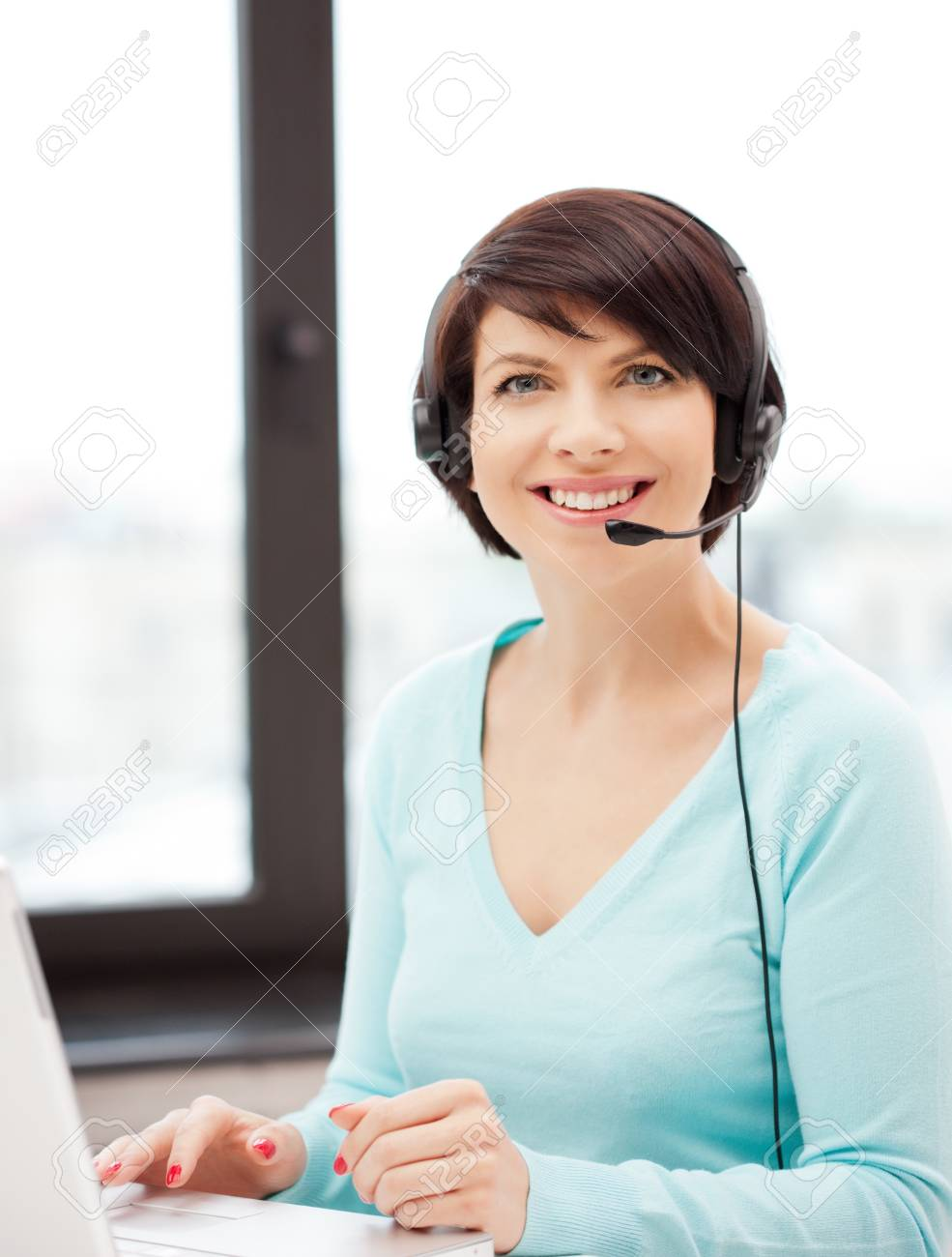 picture of helpline operator with laptop computer Stock Photo - 9948568