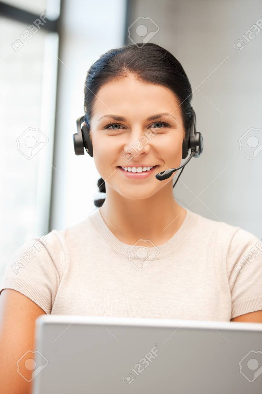 picture of helpline operator with laptop computer Stock Photo - 9948687