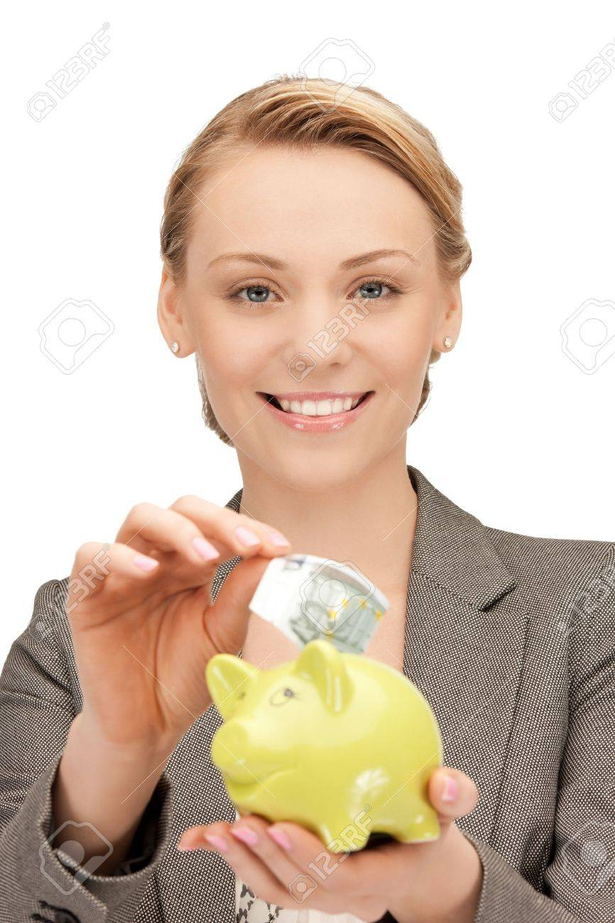 picture of lovely woman with piggy bank and money Stock Photo - 10082082