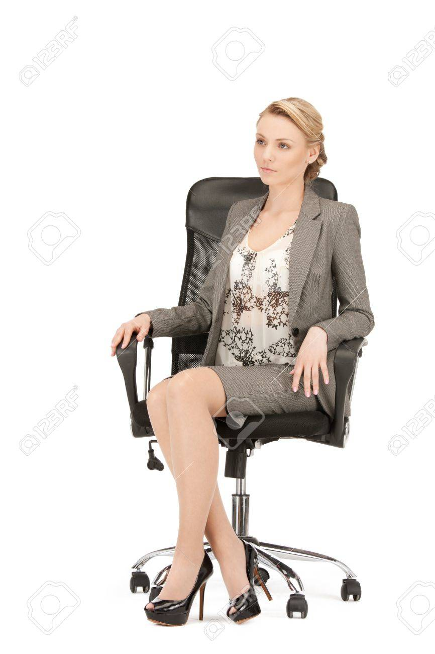 picture of young businesswoman sitting in chair Stock Photo - 10302249