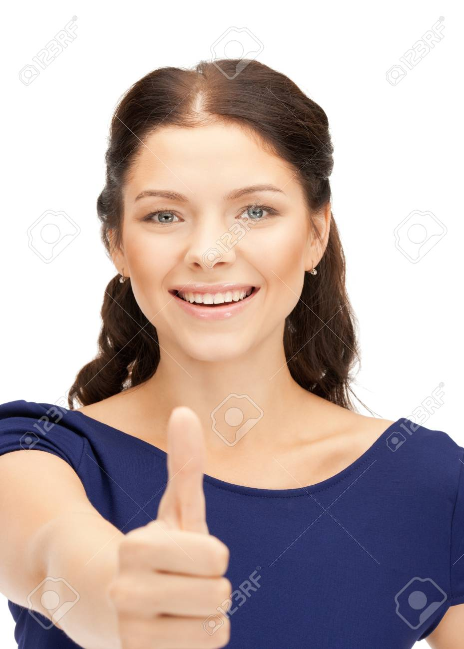 bright picture of lovely teenage girl with thumbs up Stock Photo - 10597190