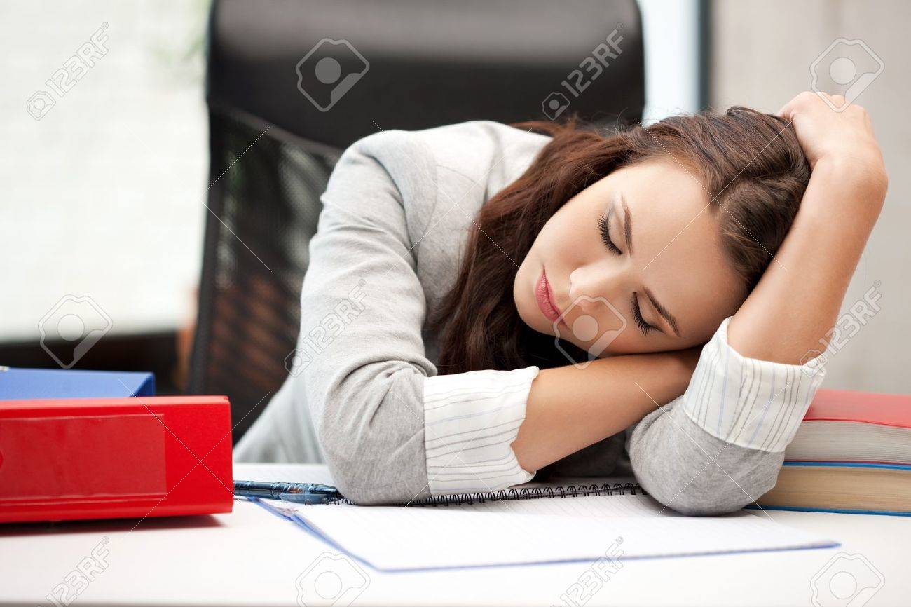 bright picture of sleeping woman with book Stock Photo - 10703804