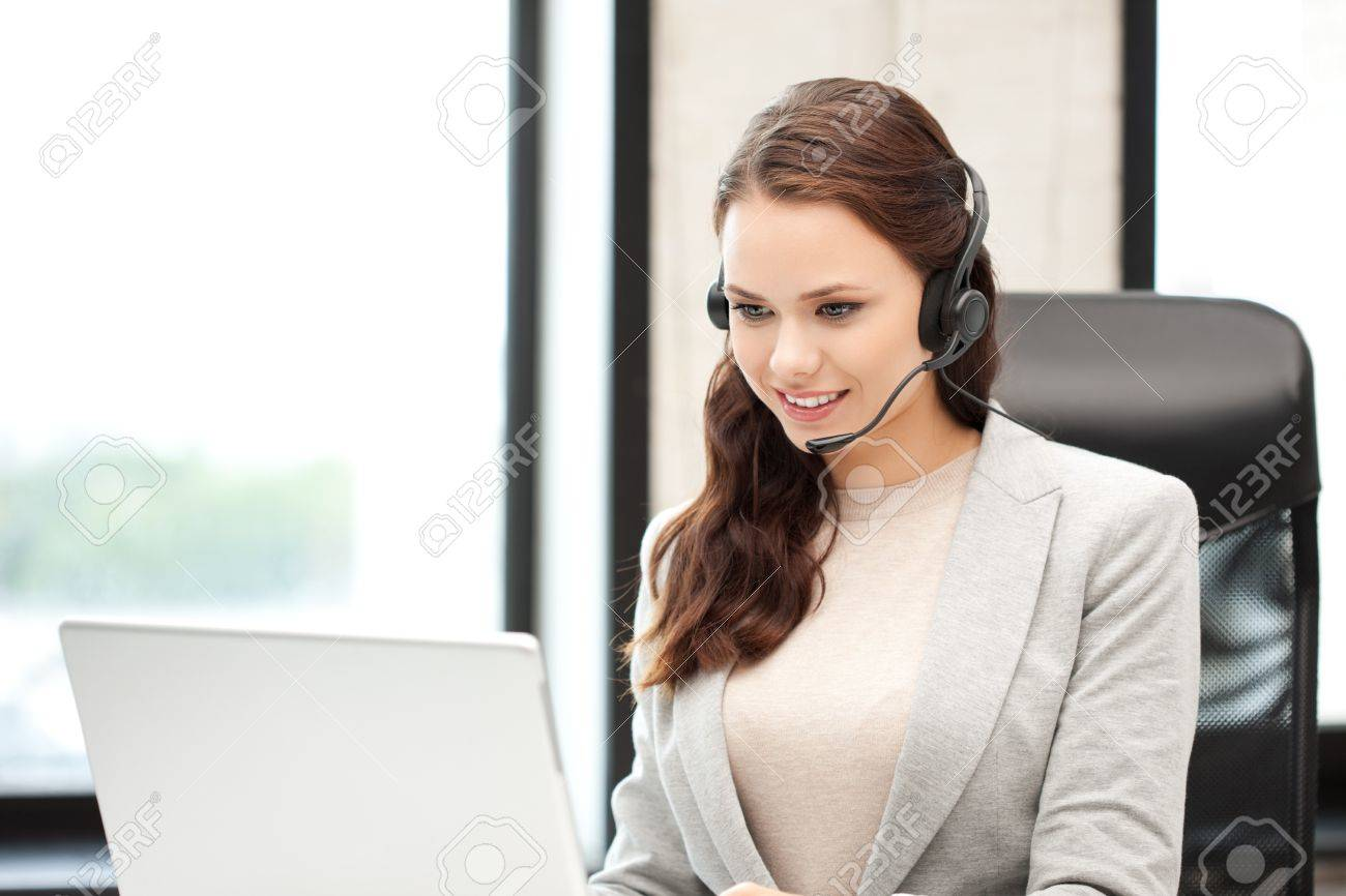 picture of helpline operator with laptop computer Stock Photo - 10930564