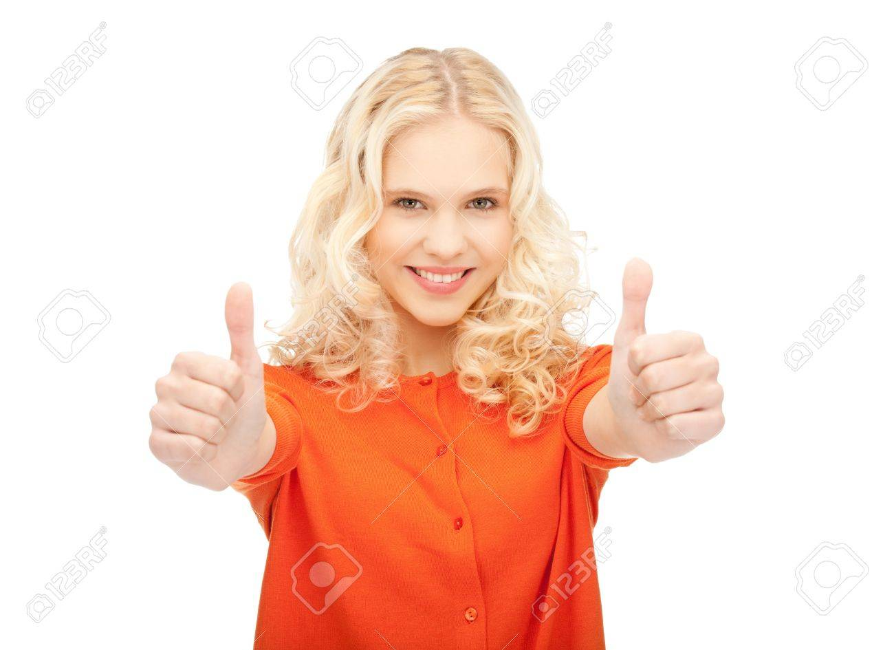 bright picture of lovely teenage girl with thumbs up Stock Photo - 11022831