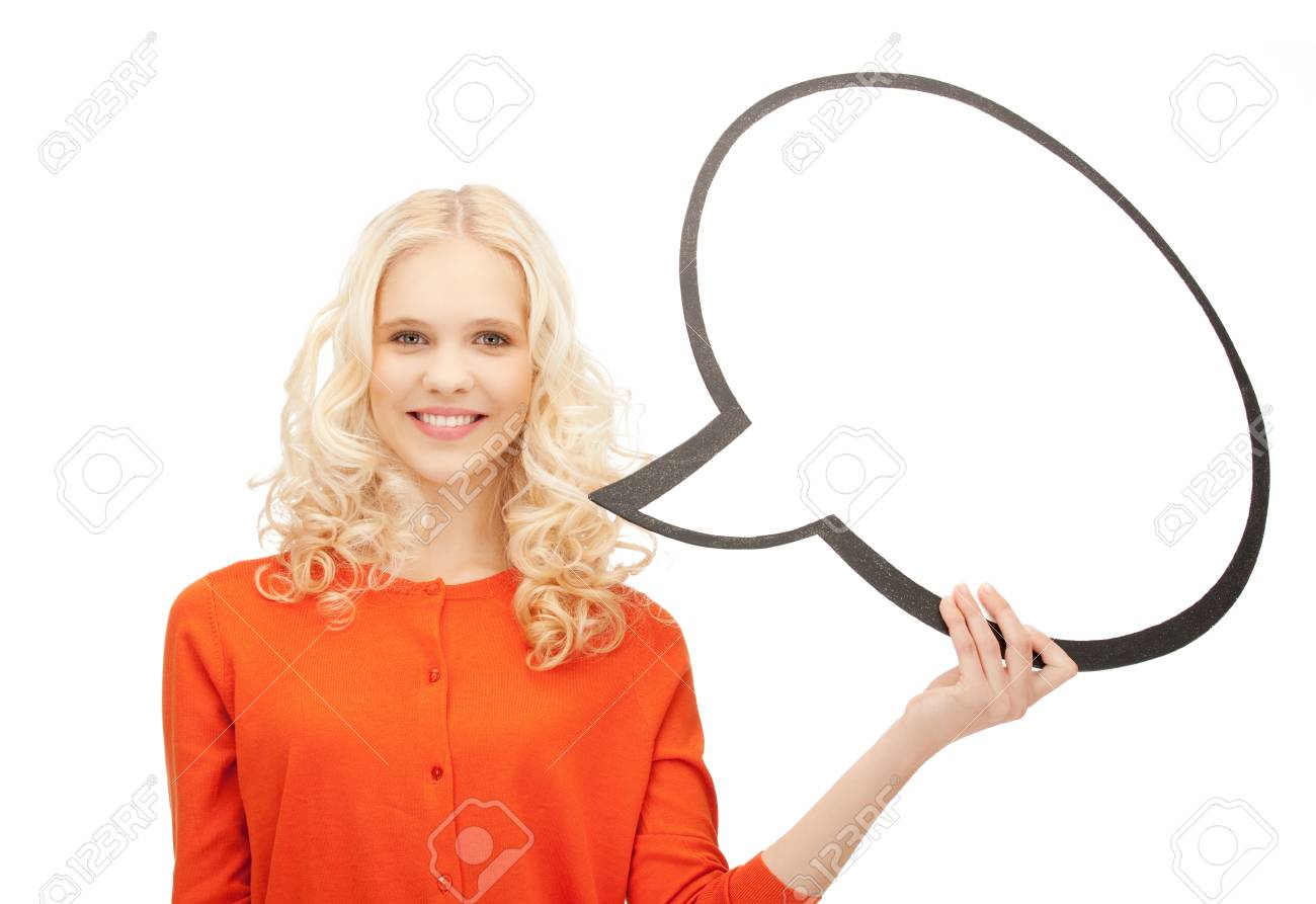 bright picture of smiling businesswoman with blank text bubble Stock Photo - 11093923