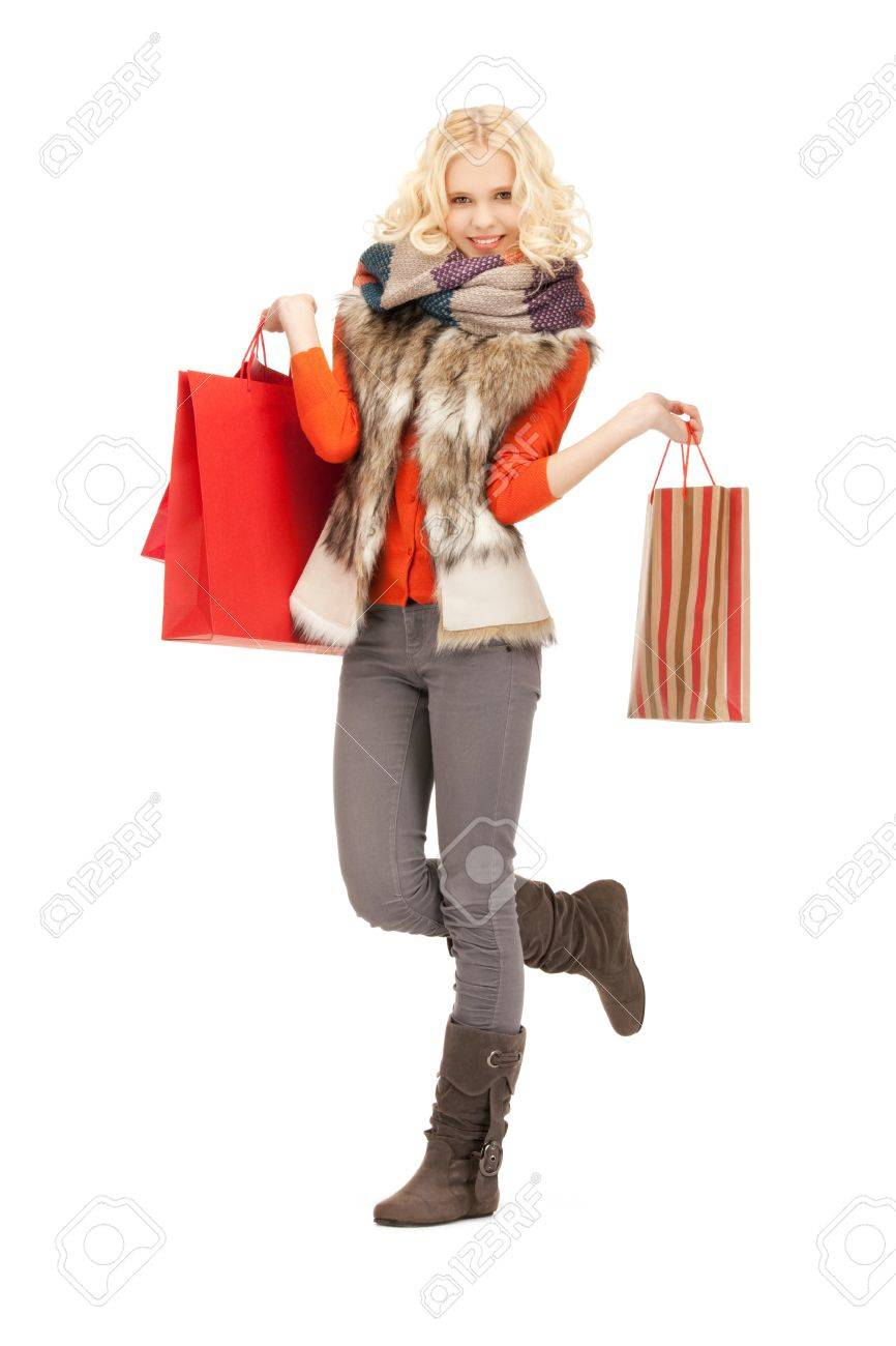 picture of lovely woman with shopping bags Stock Photo - 11329381