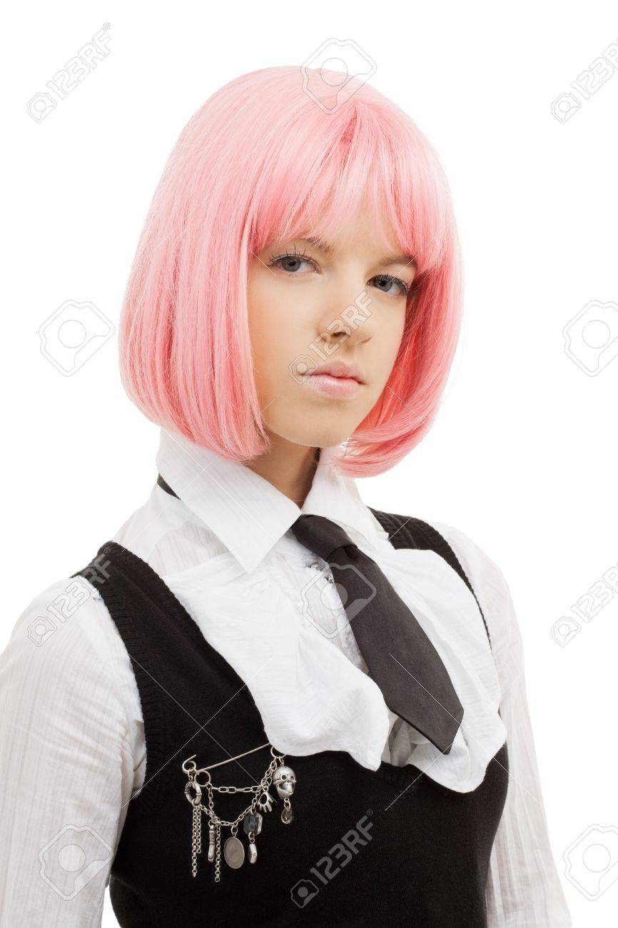 closeup image of lovely schoolgirl with pink hair Stock Photo - 12376313