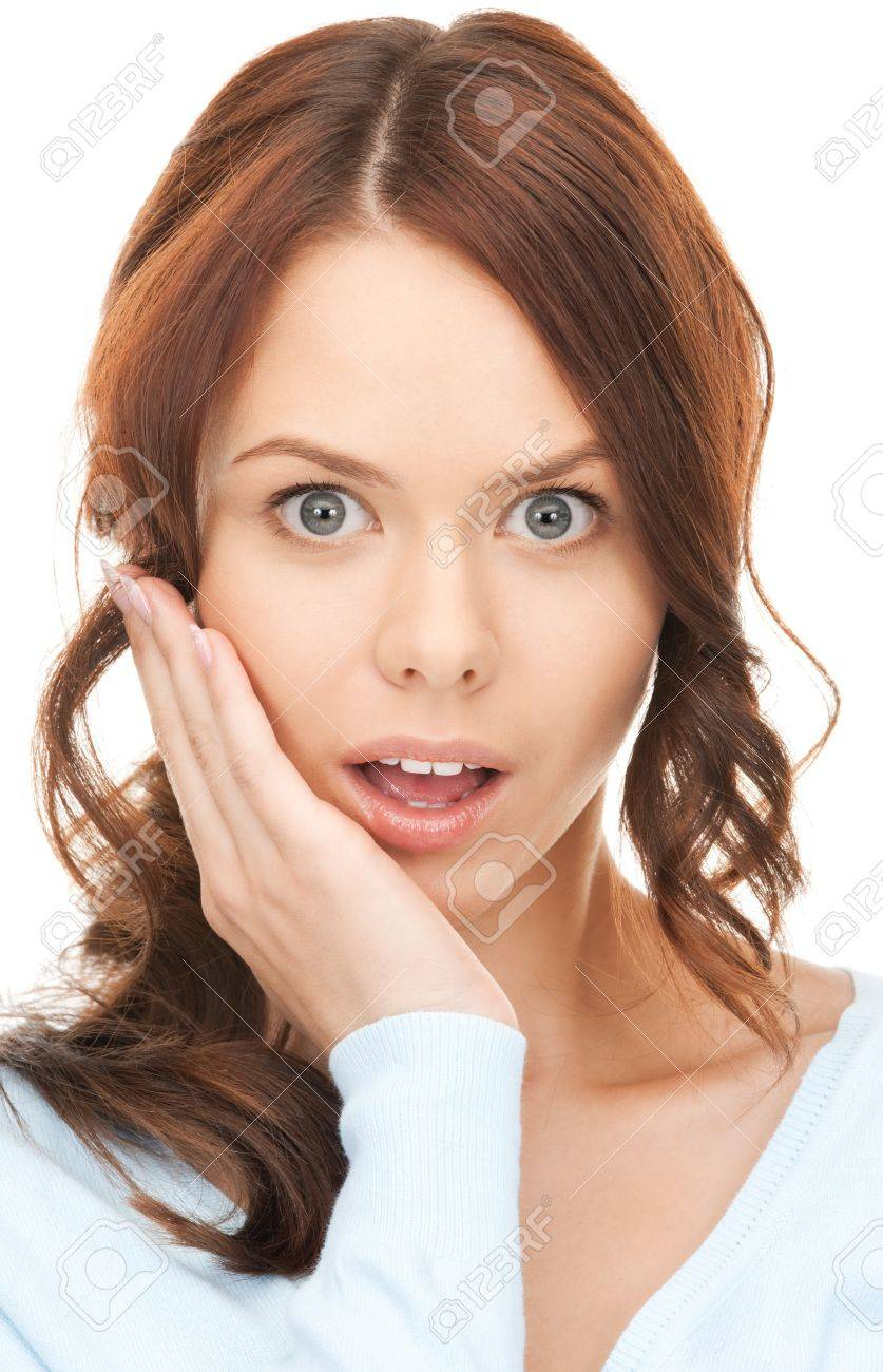 bright closeup picture of woman with hand over mouth Stock Photo - 12382244