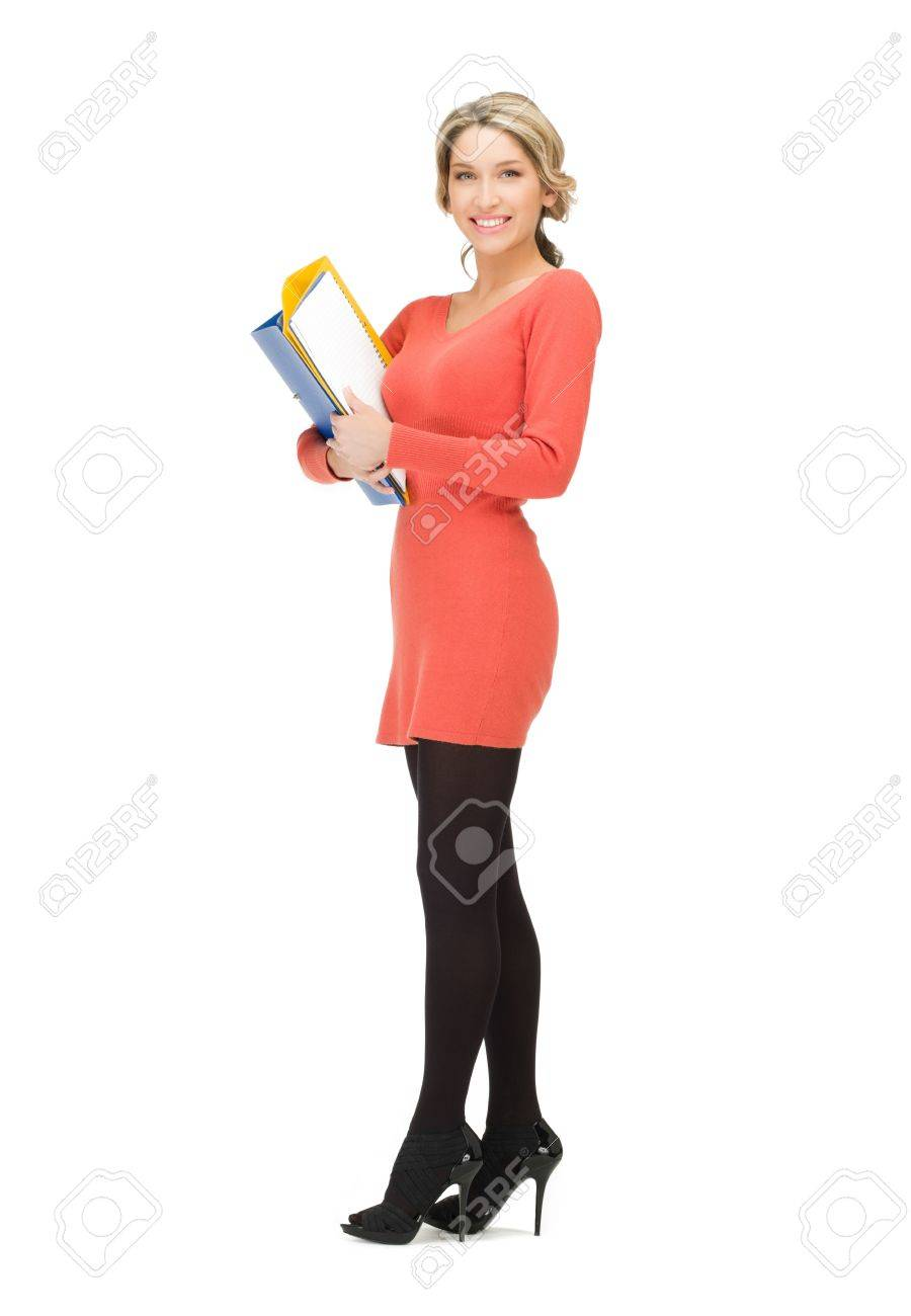 bright picture of beautiful woman with folders Stock Photo - 12971325