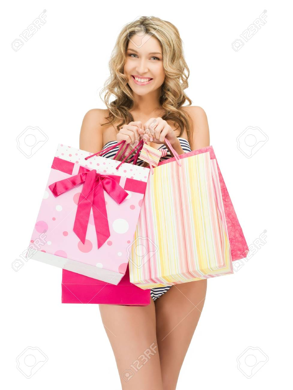 picture of seductive woman in bikini with shopping bags Stock Photo - 12971346