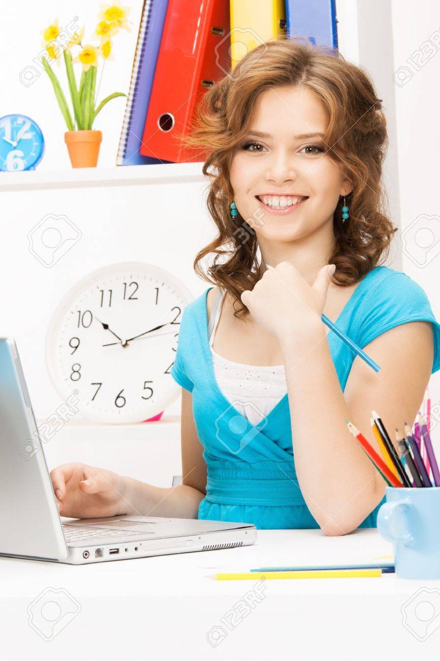 picture of happy woman with laptop computer Stock Photo - 16465759