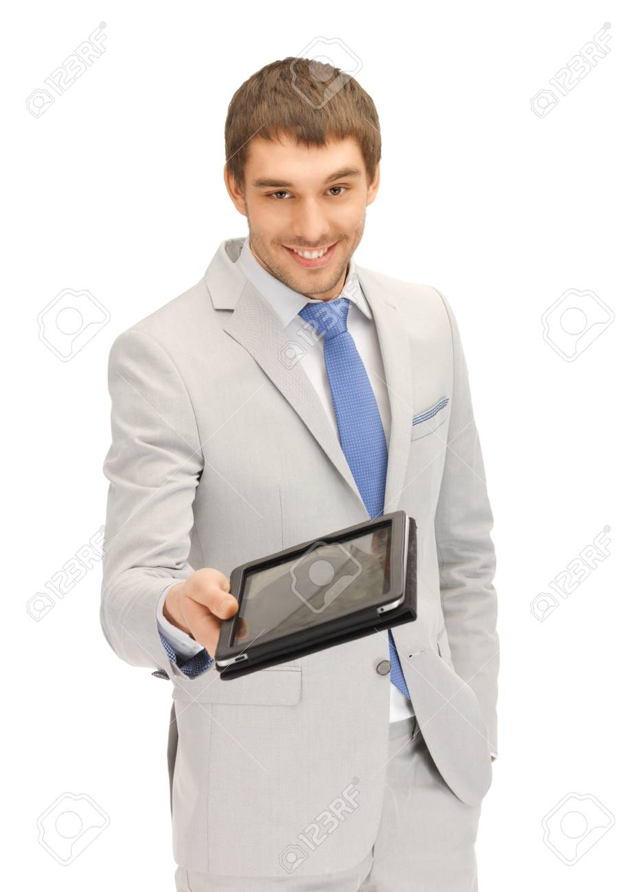 picture of happy man with tablet pc computer Stock Photo - 13772796