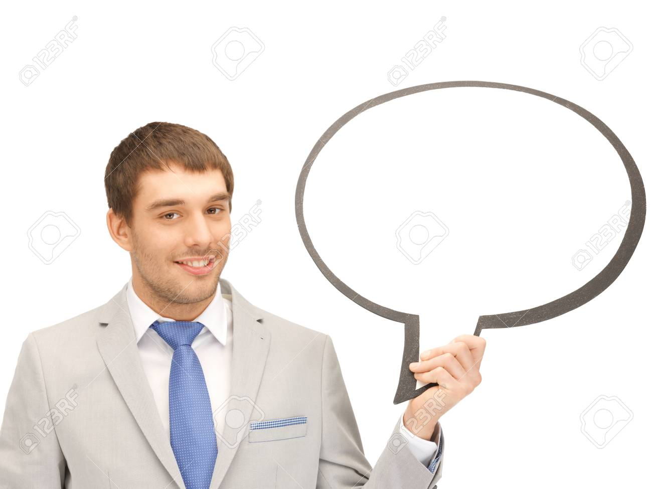 bright picture of smiling businessman with blank text bubble Stock Photo - 13818625