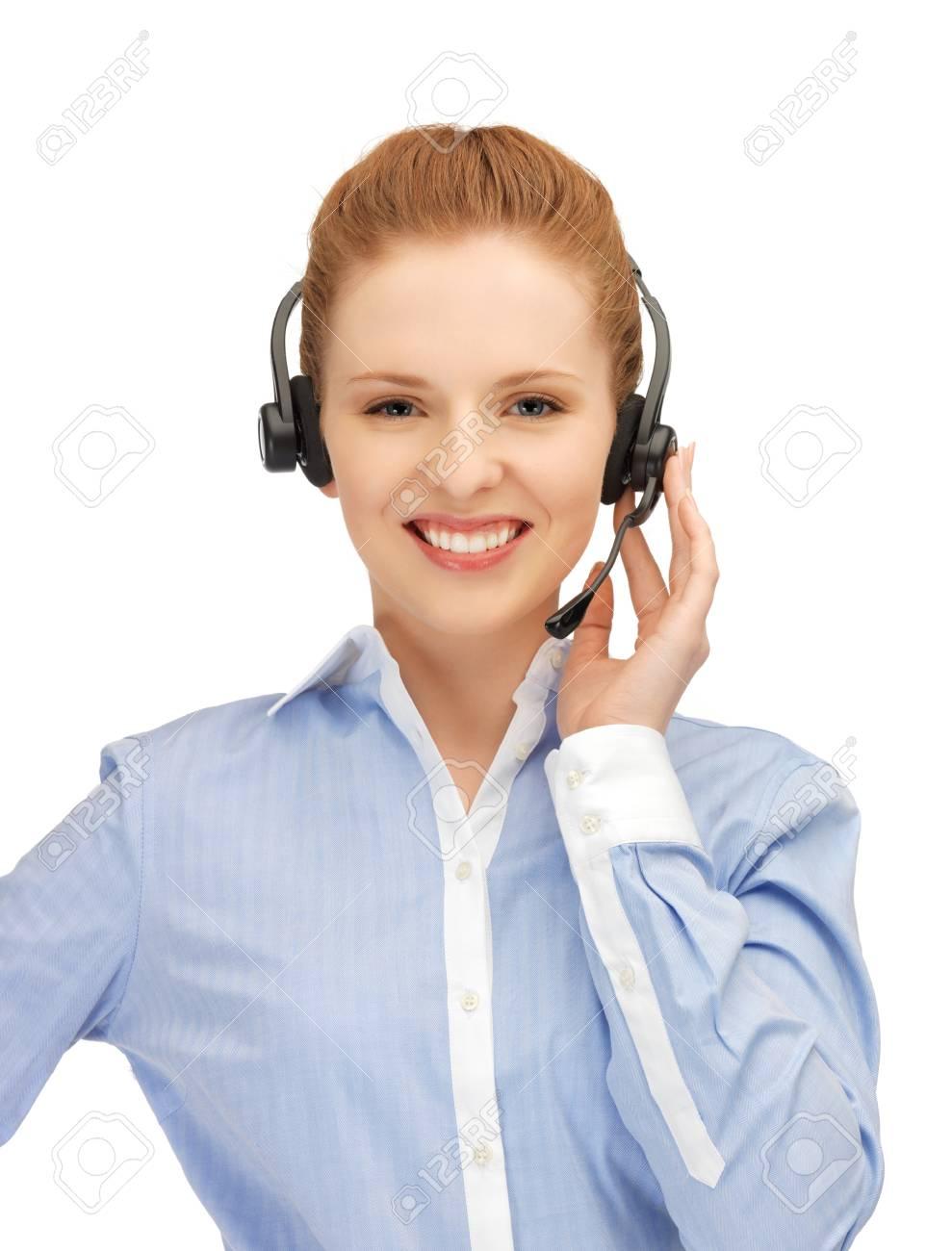 bright picture of friendly female helpline operator Stock Photo - 14333113