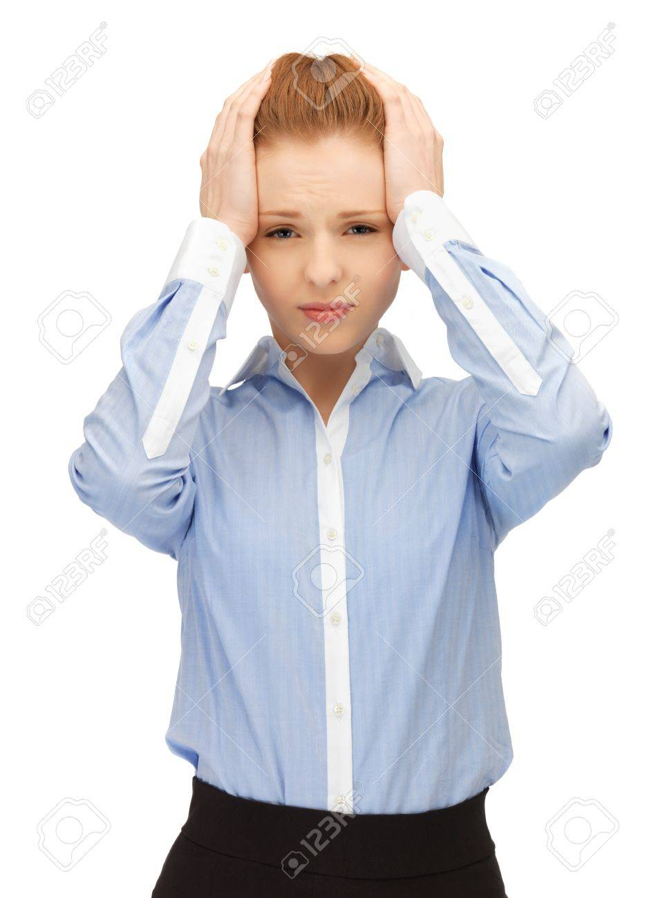 unhappy woman holding her head with hands Stock Photo - 14361264