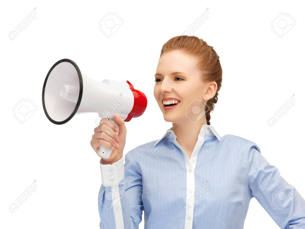 bright picture of happy woman with megaphone Stock Photo - 14391687