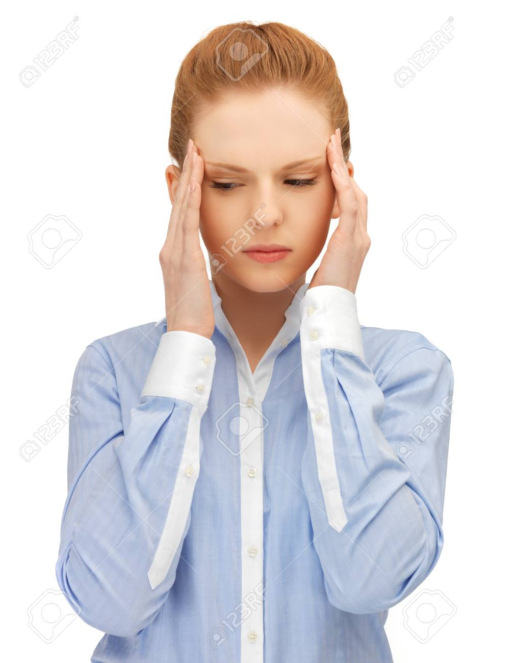 unhappy woman holding her head with hands Stock Photo - 14529539