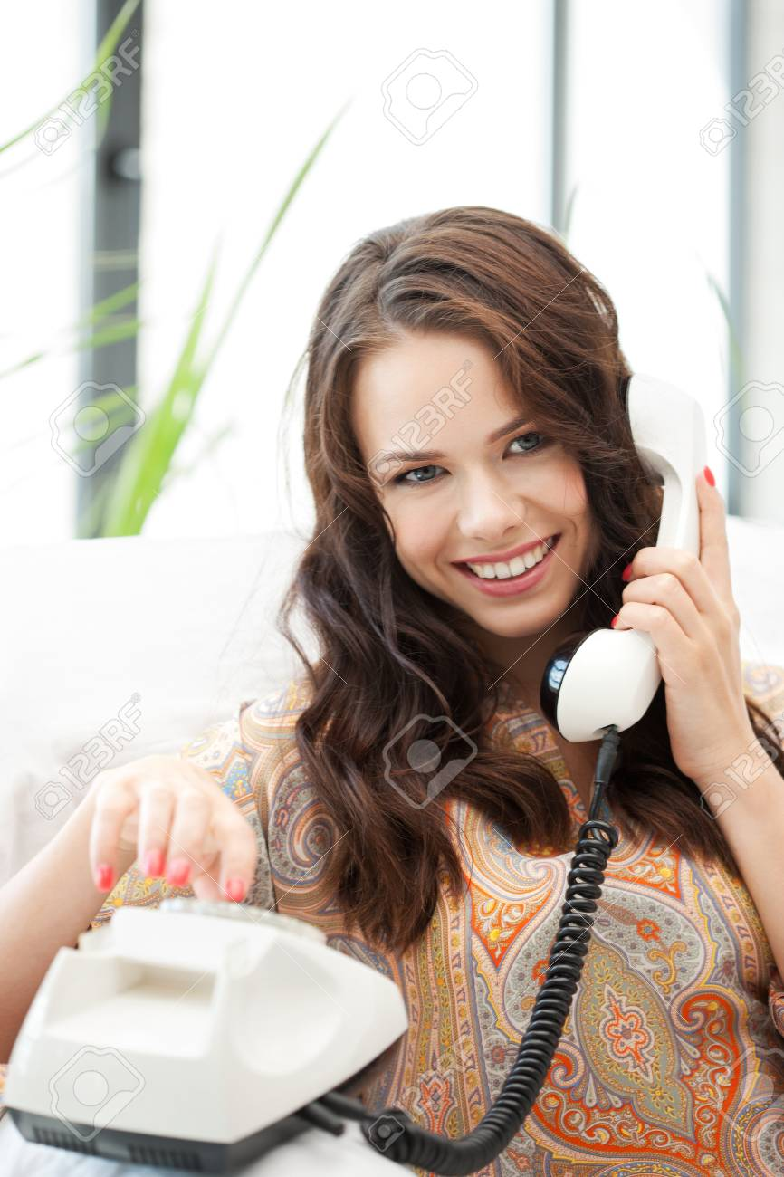 bright picture of happy woman with phone Stock Photo - 16494875