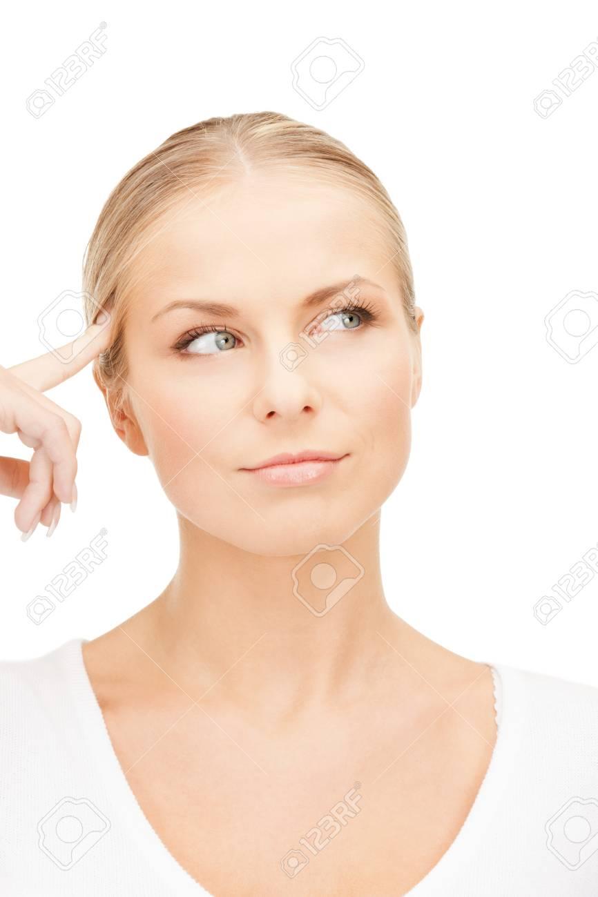bright studio picture of beautiful pensive woman Stock Photo - 14730397