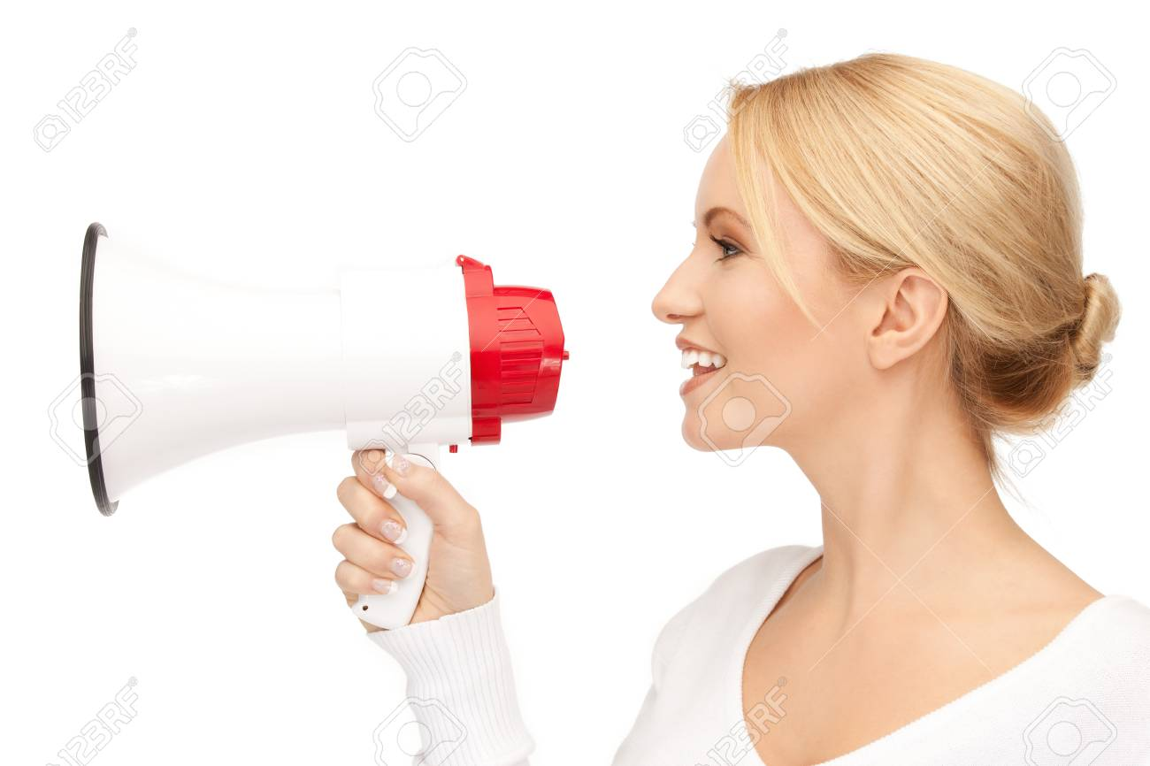 bright picture of happy woman with megaphone Stock Photo - 15043670