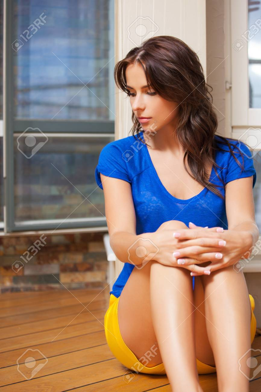 bright picture of sad and lonely woman Stock Photo - 15501319