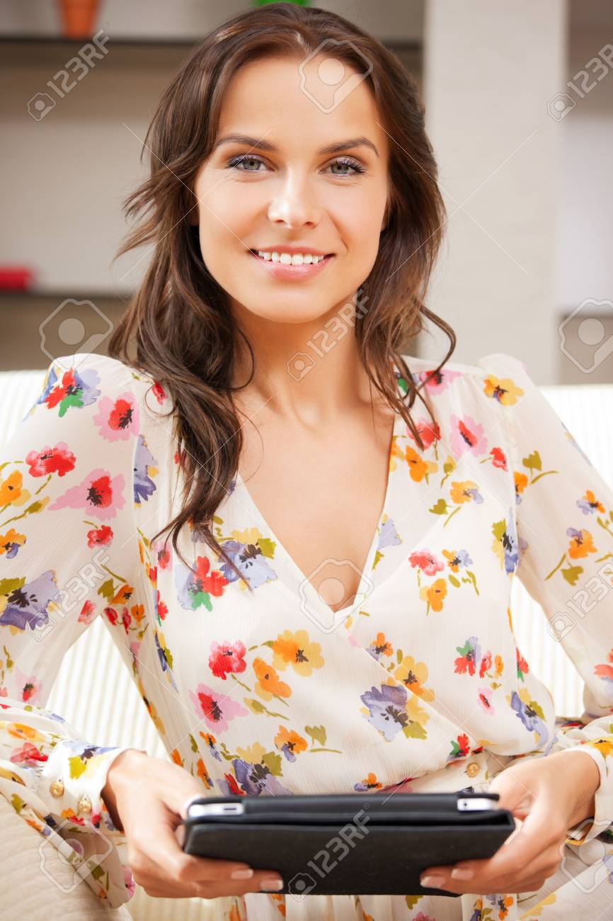 picture of happy woman with tablet pc computer Stock Photo - 15361776