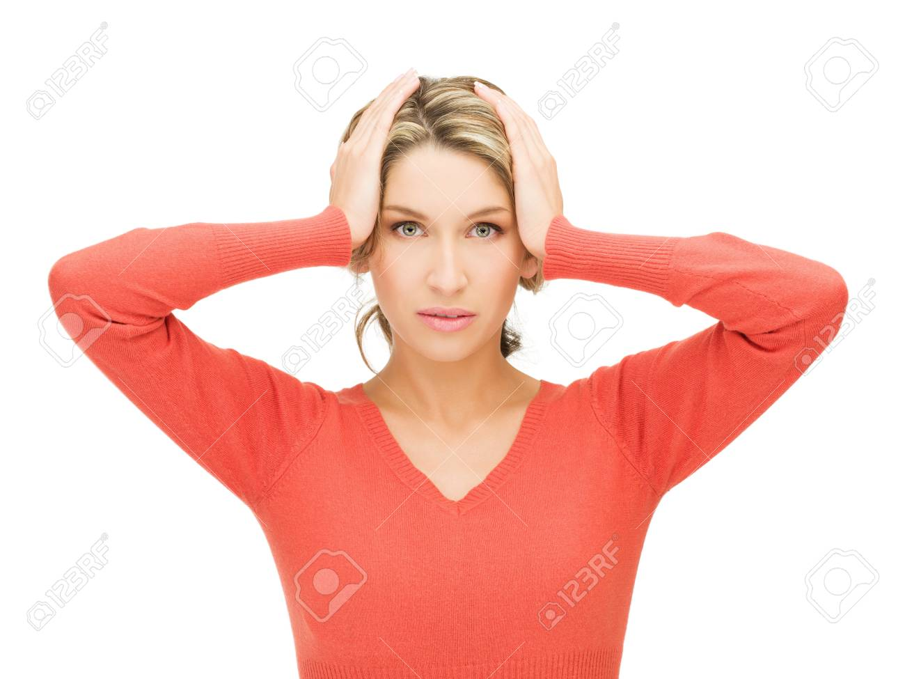 unhappy woman holding her head with hands Stock Photo - 15399961