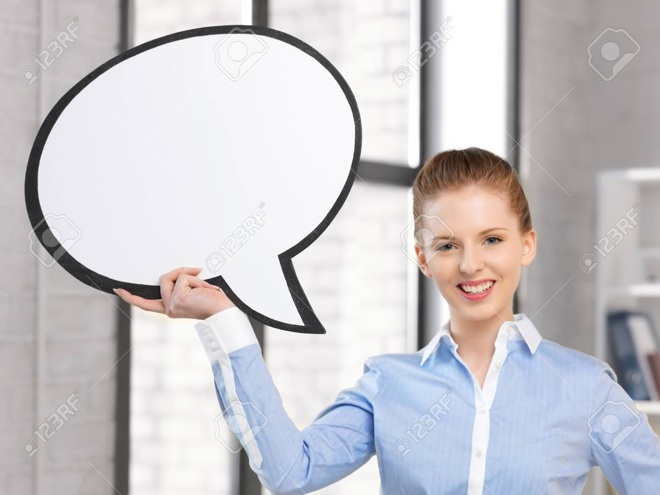 bright picture of smiling businesswoman with blank text bubble Stock Photo - 15482410