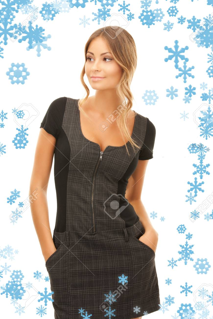 bright picture of lovely woman over white Stock Photo - 15598258