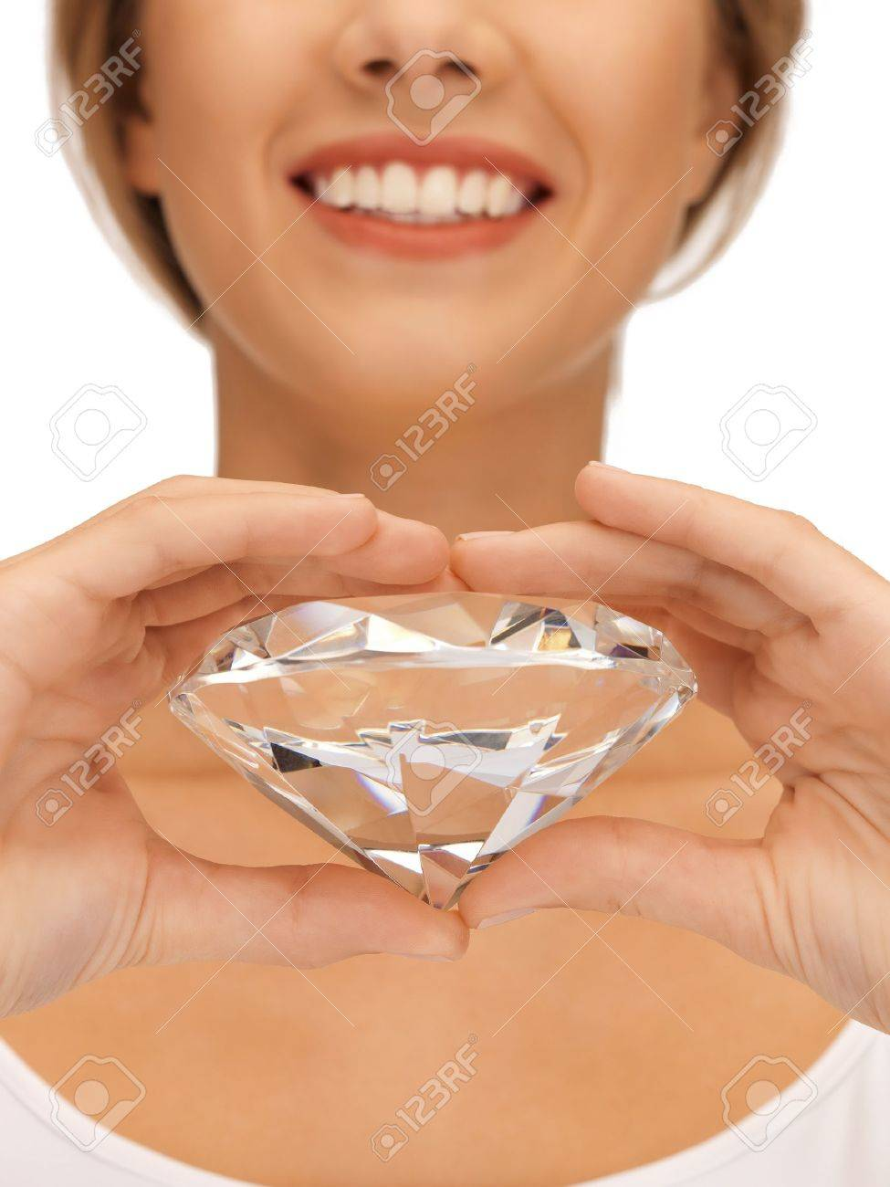 bright picture of smiling woman with big diamond Stock Photo - 15659517