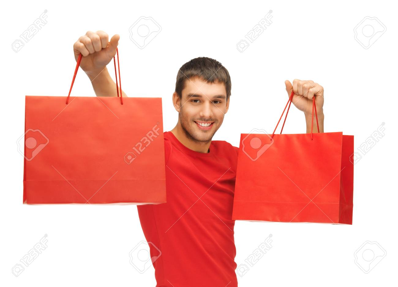 picture of handsome man with shopping bags Stock Photo - 15871874