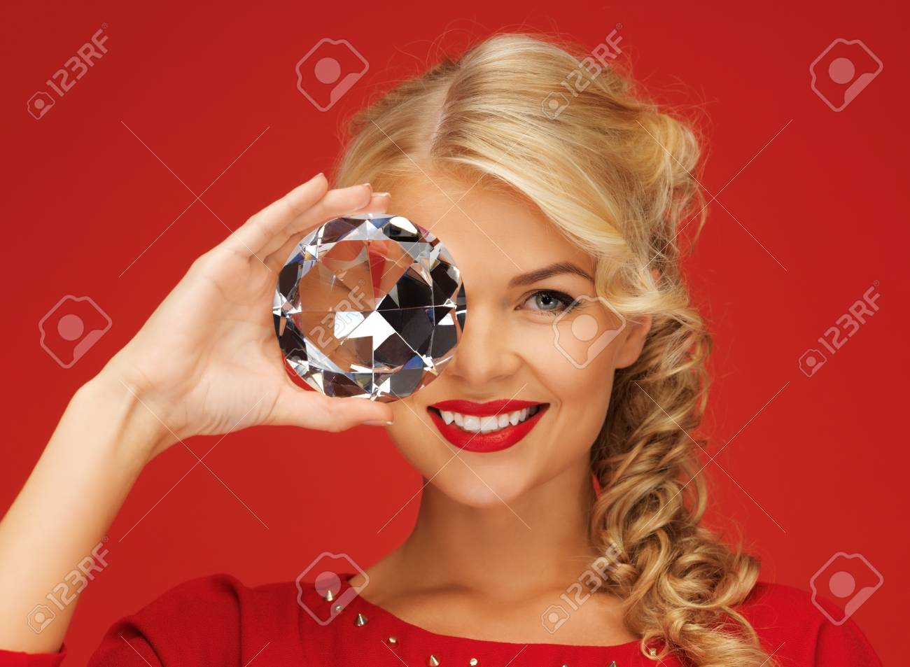 picture of lovely woman with big diamond Stock Photo - 16038789