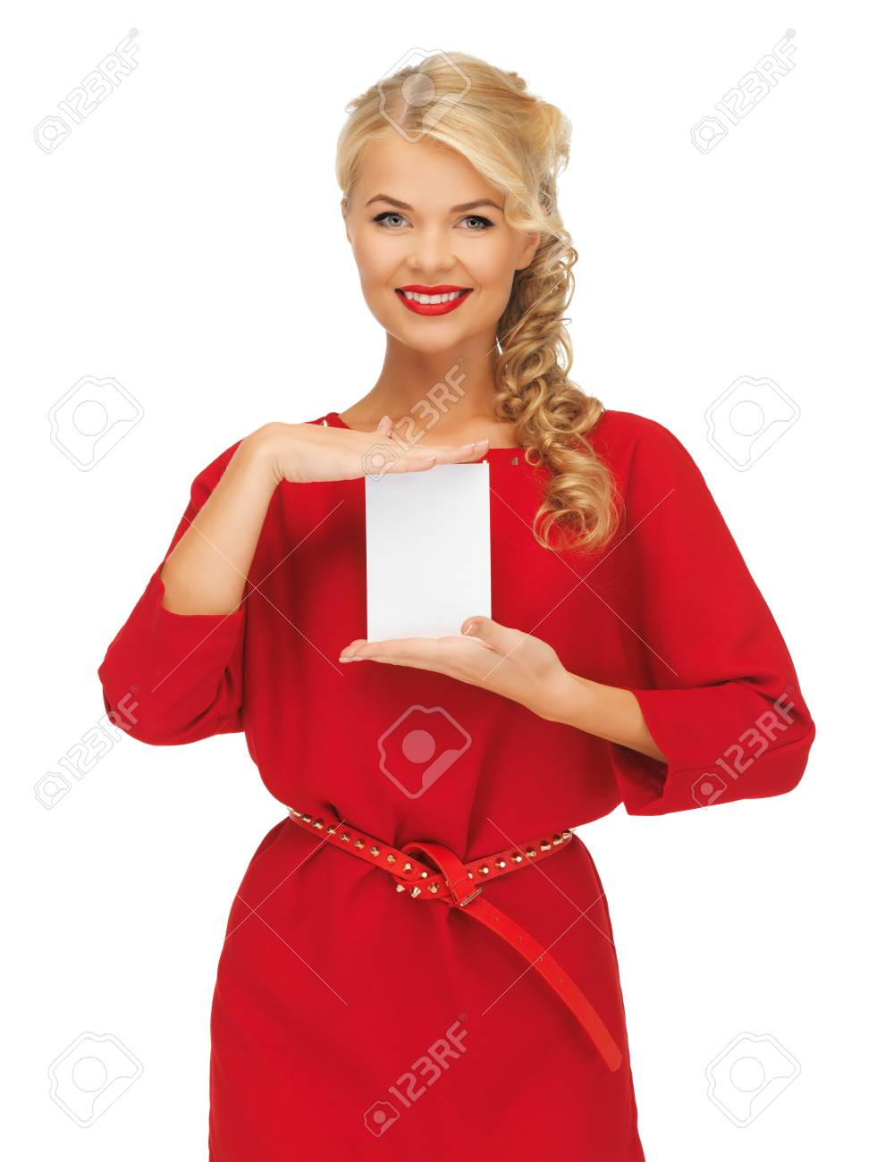 picture of lovely woman in red dress with note card Stock Photo - 16084630