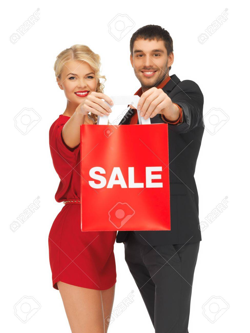 bright picture of man and woman with shopping bag Stock Photo - 16084614
