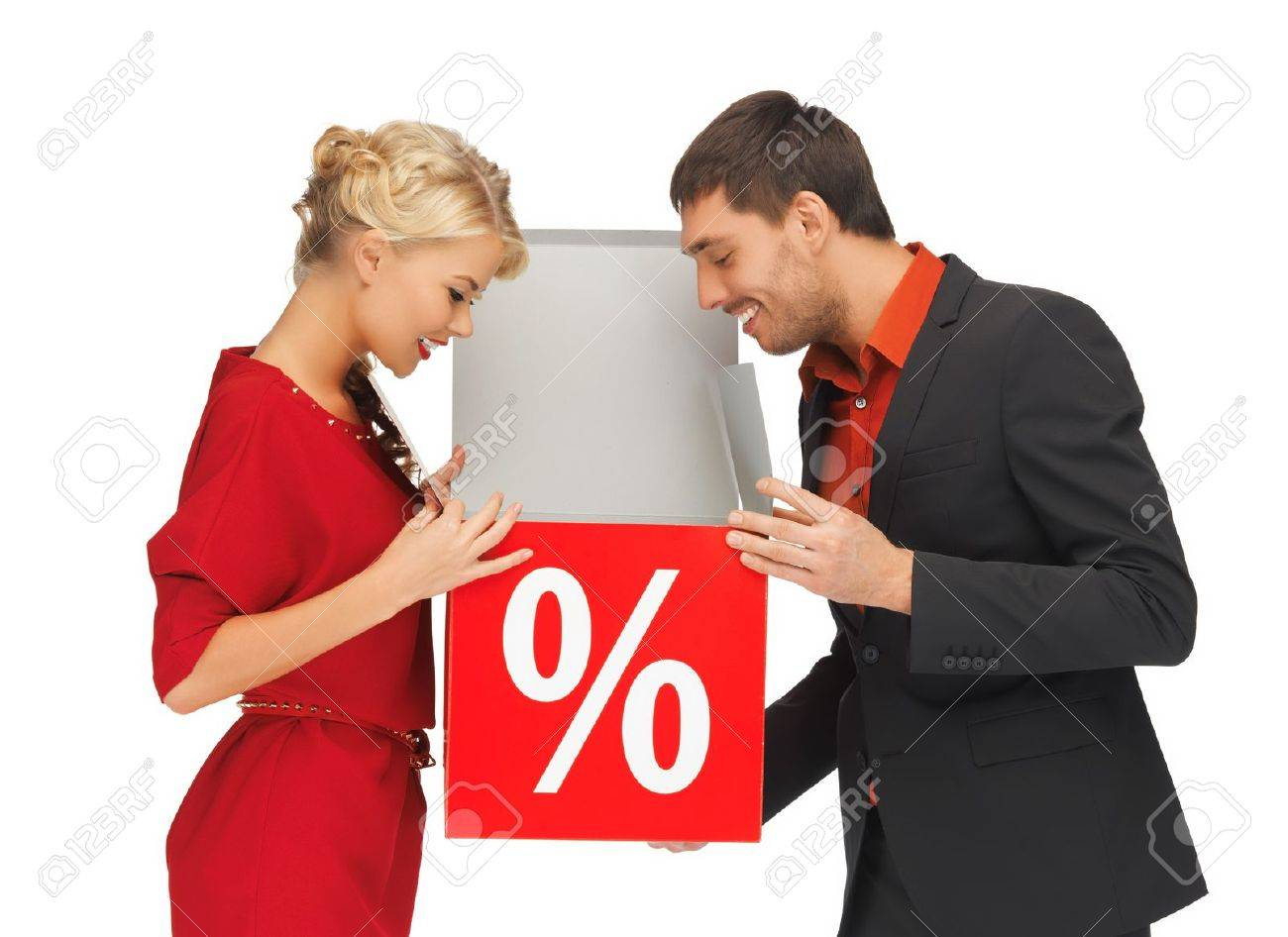 bright picture of man and woman with percent sign Stock Photo - 16084633
