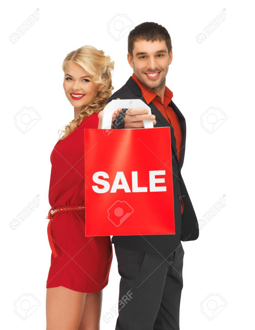 bright picture of man and woman with shopping bag Stock Photo - 16118090