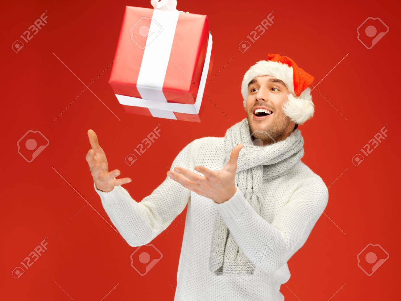 bright picture of handsome man in christmas hat Stock Photo - 16165306