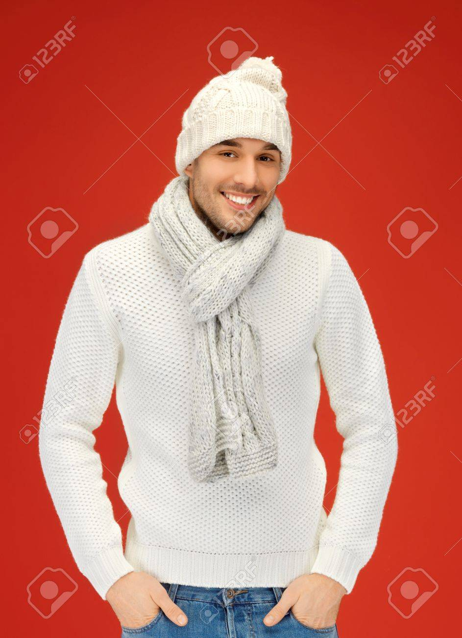 picture of handsome man in warm sweater, hat and scarf Stock Photo - 16300247