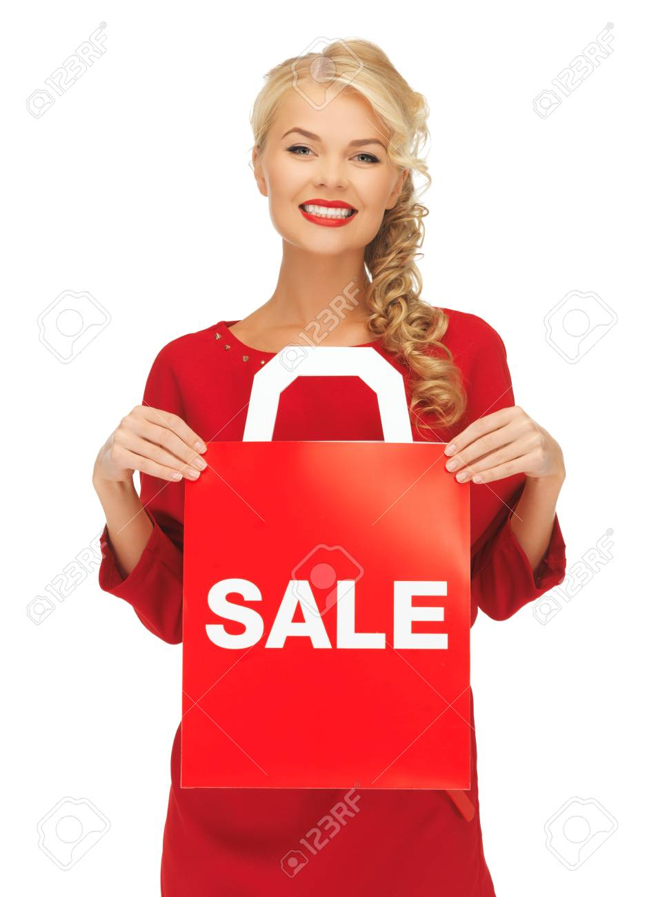 picture of beautiful woman in red dress with shopping bag Stock Photo - 16353870