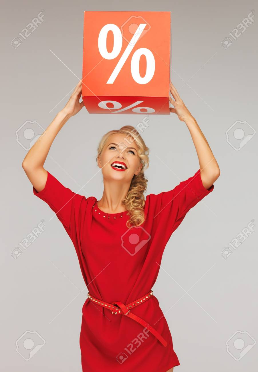 picture of lovely woman in red dress with percent sign Stock Photo - 16353807